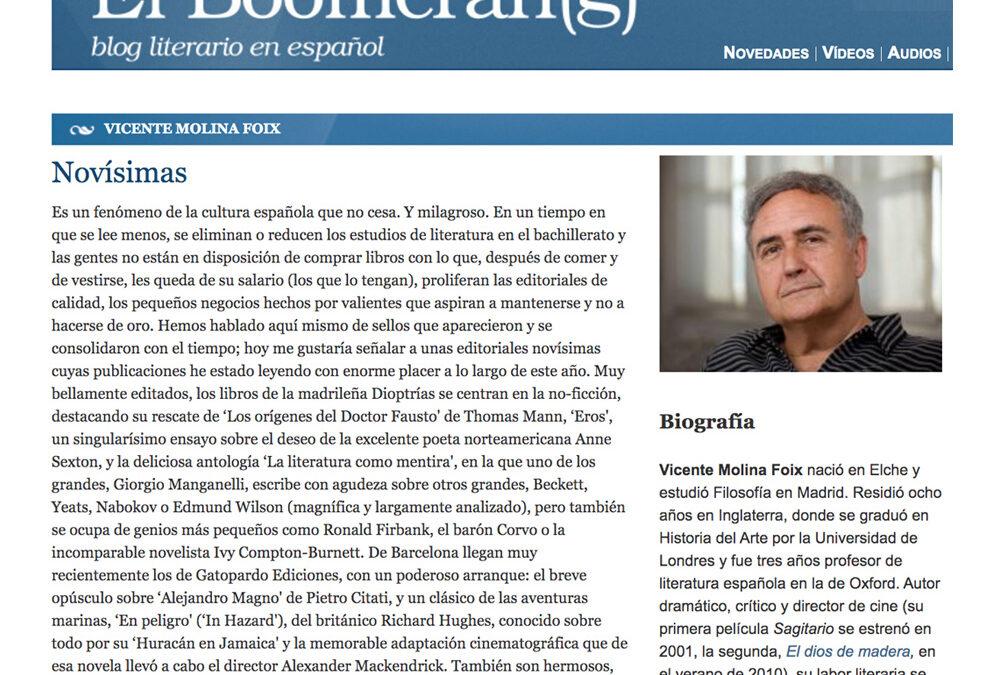 Novísimas. VicenteMolina Foix. El Boomeran(g)